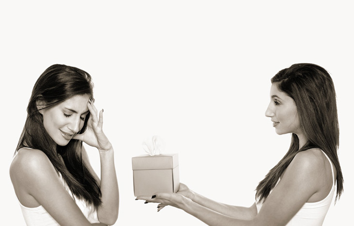 a woman refusing a gift to herself because she has low self-esteem and is afraid of judgment